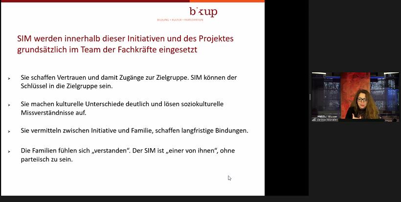 "Screenshot aus Workshop 2 ""Zugang zur Zielgruppe""; Referentin: Varinia Fernanda Morales"